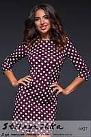 Женское короткое платье в горошек марсала