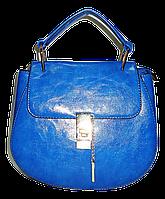 Элегантная женская сумка из искусственной кожи голубого цвета