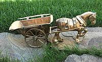 Каминная фигура конь с телегой Германия Бронза 4кг