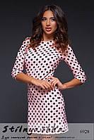Женское короткое платье в горошек пудра