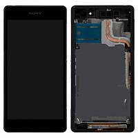 Дисплей (экран) для Sony D6502 Xperia Z2, D6503 Xperia Z2 + с сенсором (тачскрином) и рамкой черный Оригинал