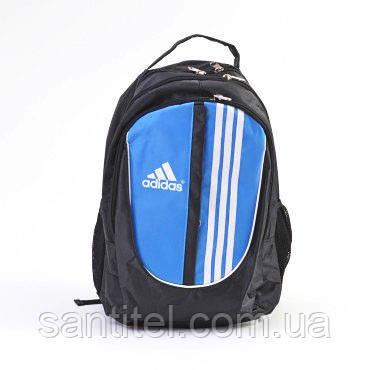 Спортивная сумка-рюкзак Adidas черный с голубым карманом