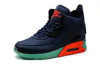 Кроссовки высокие Найк Airmax, мужские, темно-синие., фото 1