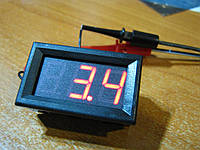 Цифровой DC вольтметр 0..200В красный доп. пит.