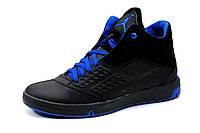 Кроссовки высокие Jordan, мужские, кожаные, черные с синим , фото 1