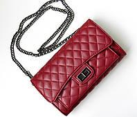 Женская сумка Chanel Flap mini бордовая, сумка через плечо