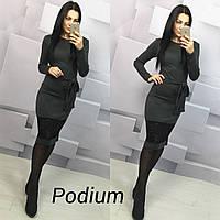 Облегающее платье миди с гипюровыми вставками