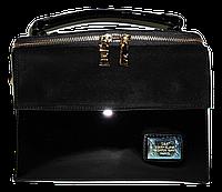 Женская лаковая сумка из искуственной кожи прямоугольная строгая черная