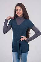 Жилет женский удлиненный с поясом джинс - 3015