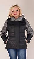 Куртка с твидовыми вставками черная 46-54рр