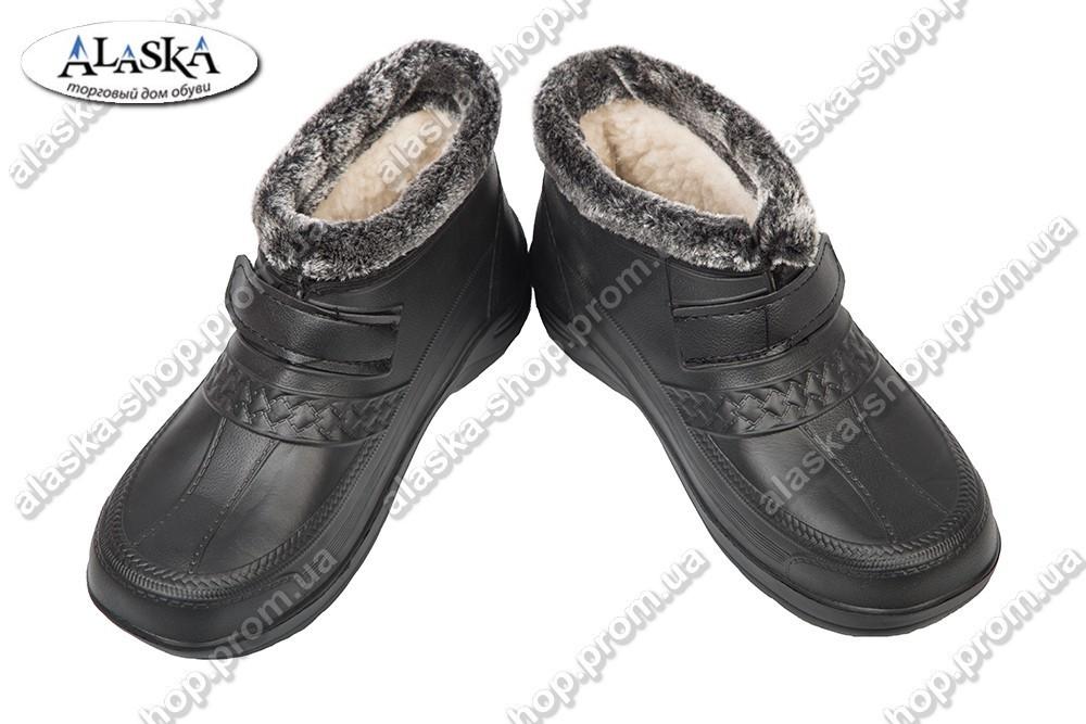 Женские галоши меховые черные (Код: М-9 dago)