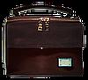 Лаковая женская сумка из искуственной кожи прямоугольная строгая коричневая
