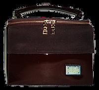 Лаковая женская сумка из искуственной кожи прямоугольная строгая коричневая, фото 1