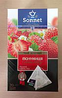 Чай Соннет зеленый 20 пирамидок с клубникой