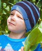 Головной убор для мальчиков Сине-серый Осень 48-52 см 3-002505 Tutu Польша