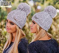 Женская шапка с помпоном  , фото 1