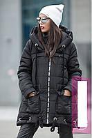 Молодежное зимнее пальто пуховик А- образного силуэта с глубоким капюшоном
