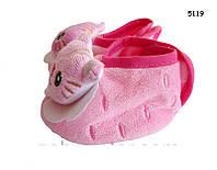 Пинетки-тапочки Котик для девочки. 9,5 см Сзади застегиваются на липучку