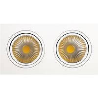 Встраиваемый светильник Downlights COB LED 2*10W 2700K\6400K белый HL6712L