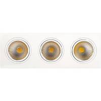 Встраиваемый светильник Downlights COB LED 3*10W 2700K\6400K белый HL6713L