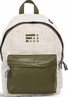Молодежный городской рюкзак 12 л. Fusion Native, бежевый с зеленым