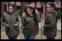 Женская батальная куртка со съемным капюшоном и карманами