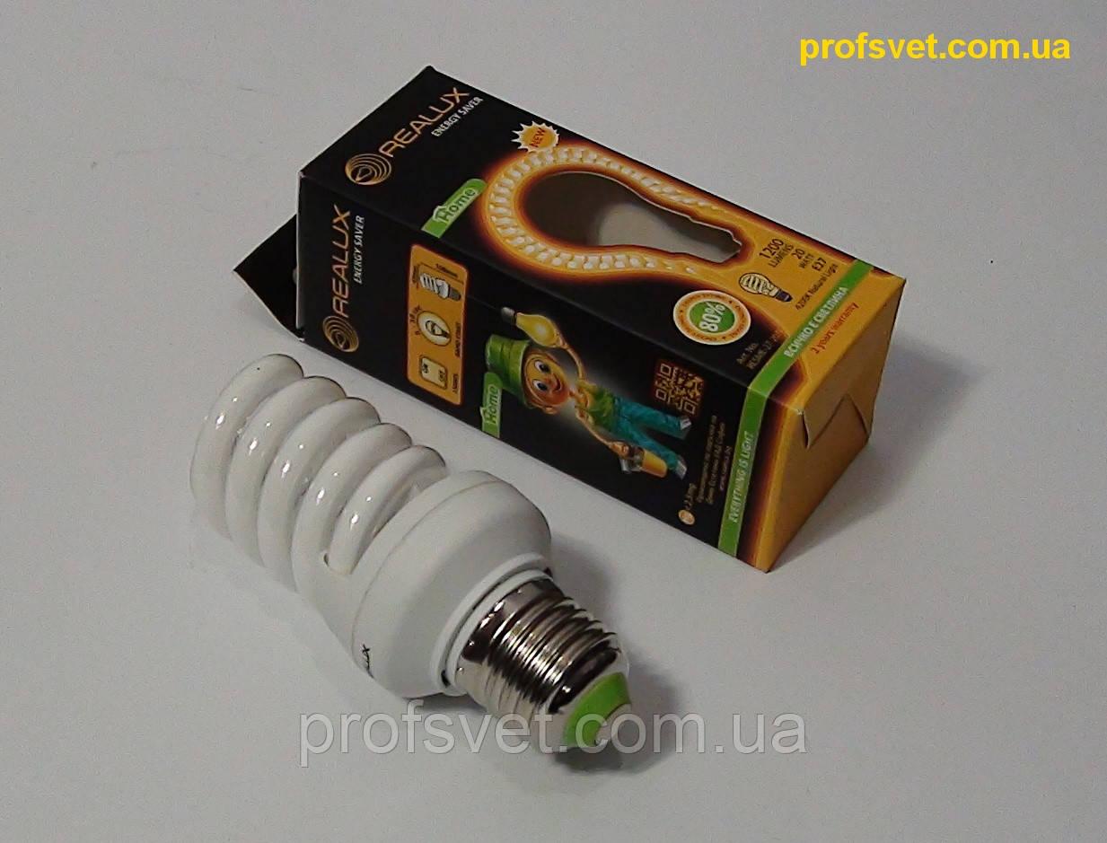Лампа енергозберігаюча 20 вт 2700к Е27 Реалюкс