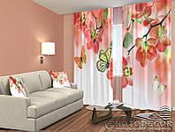 """ФотоШторы """"Бабочки и орхидеи"""" 2,5м*2,0м (2 половинки по 1,0м), тесьма"""