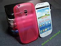 Чехол бампер силиконовый Samsung i8190 розовый
