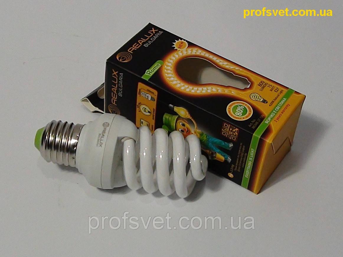Лампа энергосберегающая 15 вт Е27 4200к Реалюкс