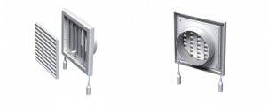 Вентиляционная решетка с регулятором воздуха, защитной сеткой и круглым фланцем