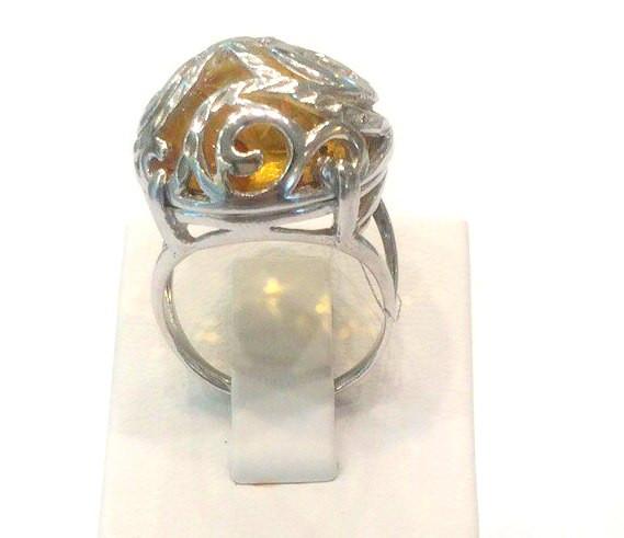 Срібний перстень з натуральним бурштином