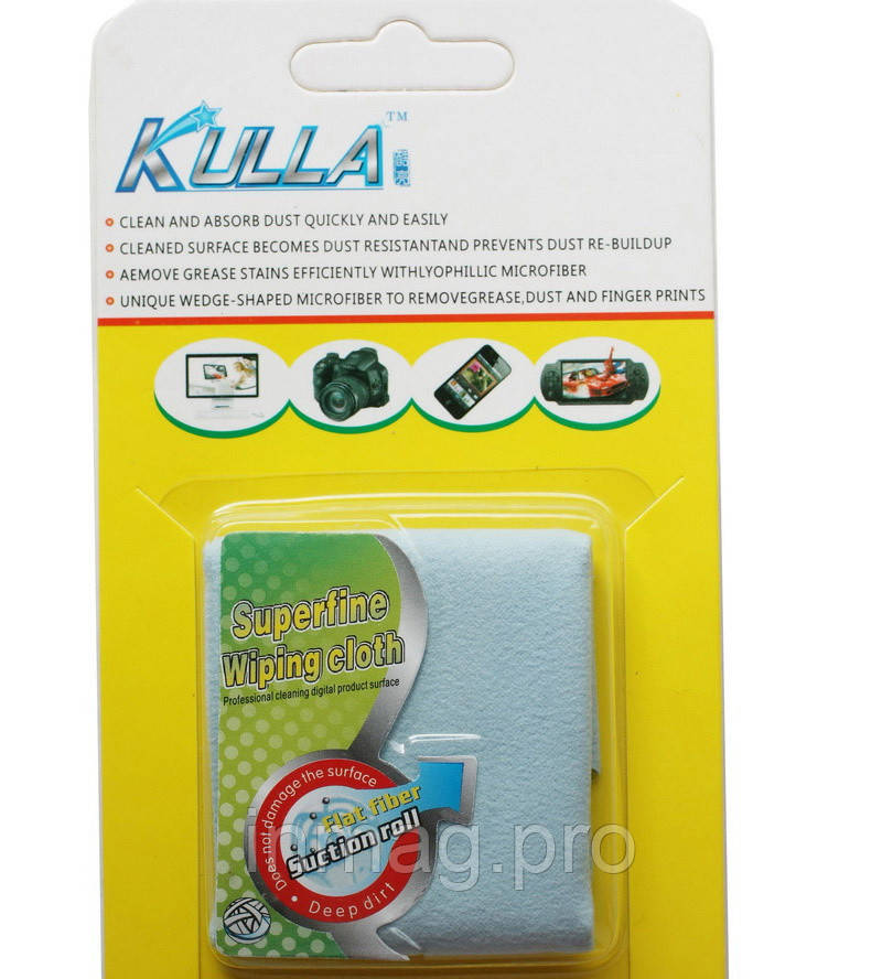 Микрофибра Kulla Magic 18x18см для чистки LCD, DVD, оптики, экрана тел