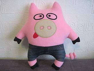 Мягкая игрушка - подушка поросенок свин Васек ручная работа
