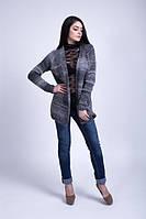 Кардиган вязаный с карманами серый меланж - 3038, фото 1