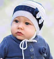 Головной убор для девочек Бело-синий Осень 40-44 см 3-002513 Tutu Польша