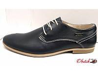 Туфли мужские eD-Ge кожа черные светлая подошва eD0021