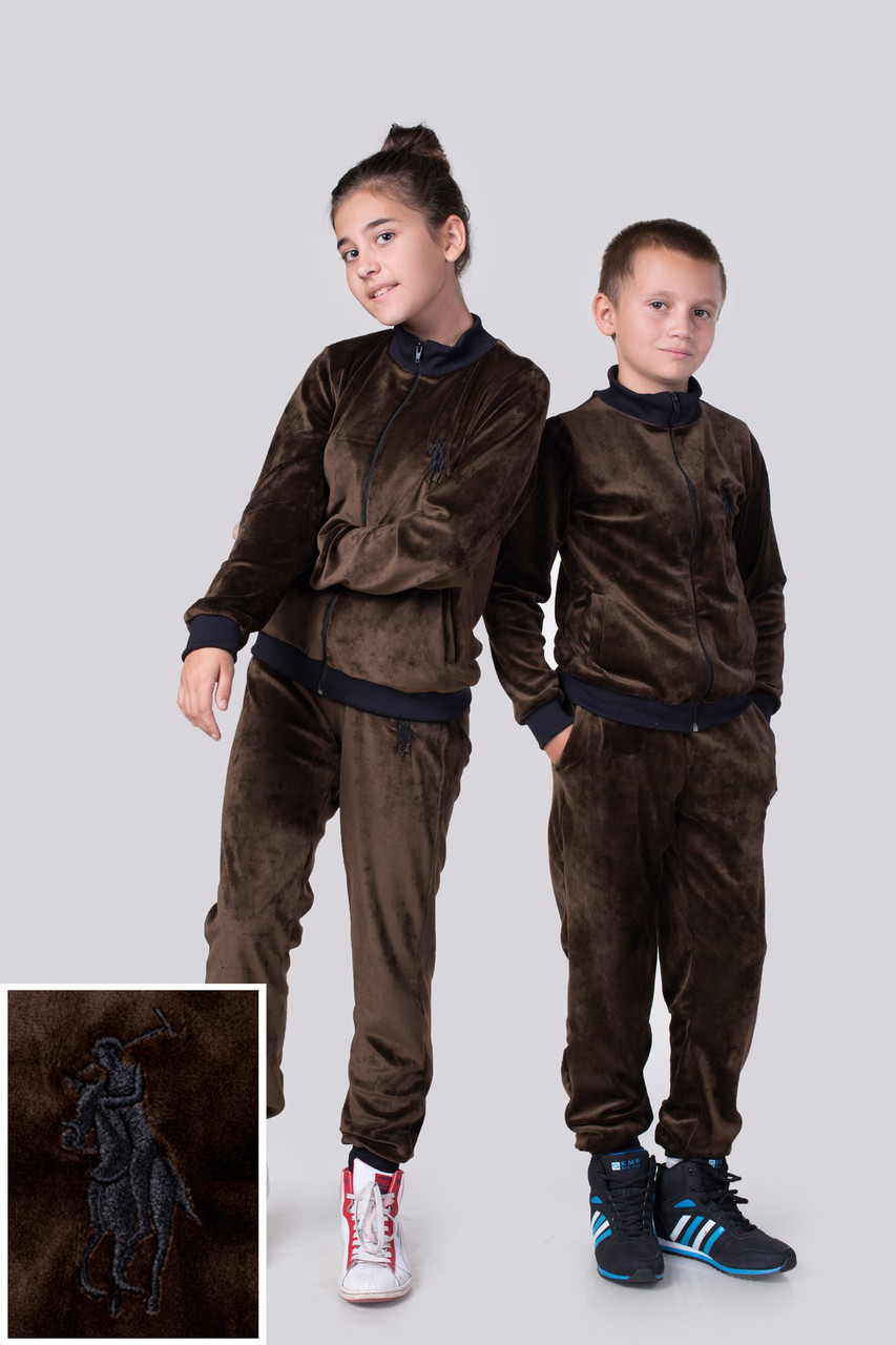 """Подростковый велюровый спортивный костюм унисекс """"Polo"""" с вышивкой и манжетами (2 цвета)"""