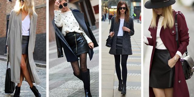 кожаная юбка и пальто