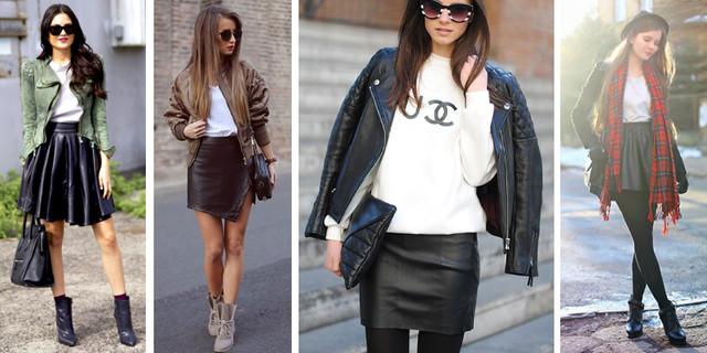 кожаная юбка и кожаная куртка