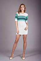 Светлое вязаное платье-туника, фото 1