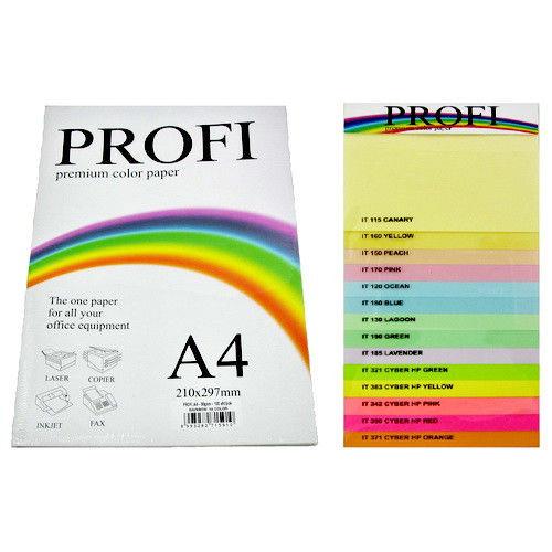Набор цветной бумаги PROFI А4 100 листов, 160г 5цв.х20л Cyber 82О (неоновые)