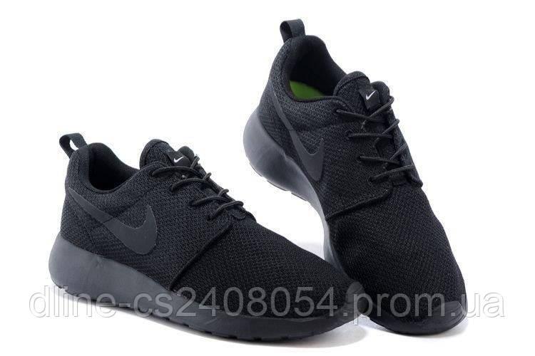 Женские кроссовки Nike Roshe Run Черные Mono