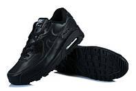 Женские кроссовки Nike Air Max 90 Чёрные кожанные, фото 1