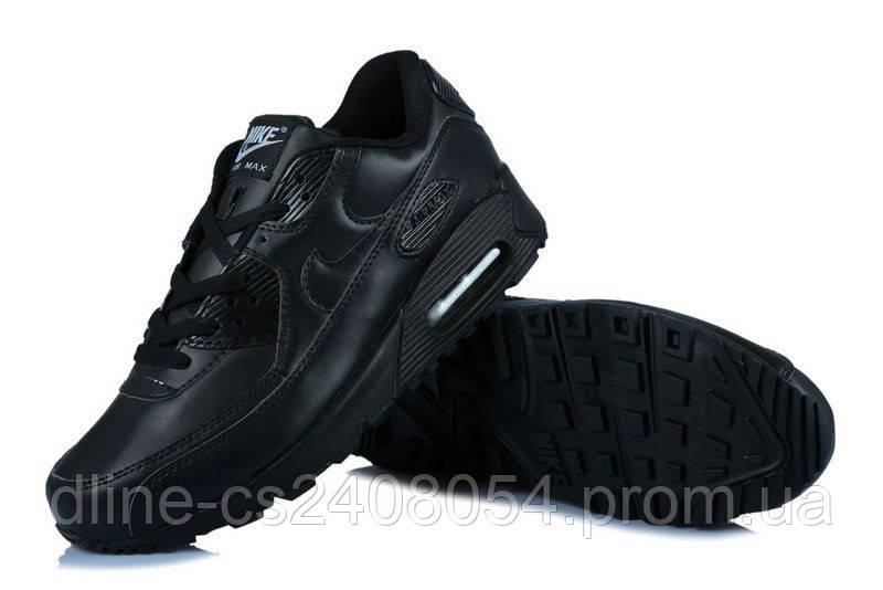Женские кроссовки Nike Air Max 90 Чёрные кожанные