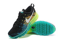 Женские кроссовки Nike Air Max Flyknit Black/Green/Blue, фото 1