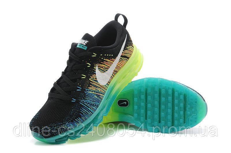 Женские кроссовки Nike Air Max Flyknit Black/Green/Blue