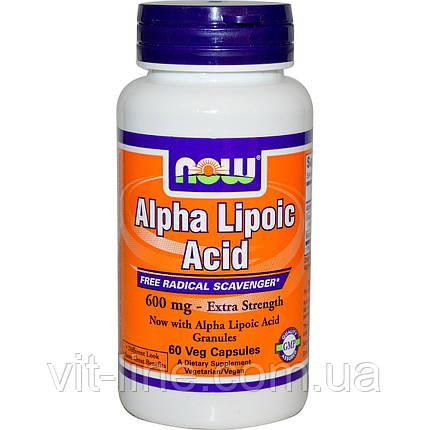 Альфа ліпоєва кислота Now Foods (600мг; 60 капсул), фото 2