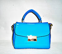 Лаковая стильная женская сумка голубого цвета прямая GHY-730146