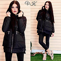 Теплая женская куртка-парка зимняя на синтепоне с капюшоном, черная
